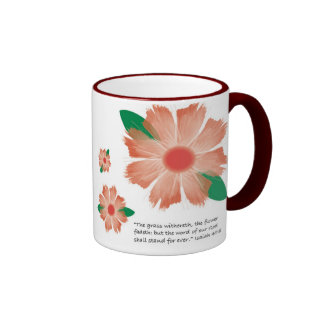 Red Flower Fades -- Variation 1 Ringer Mug