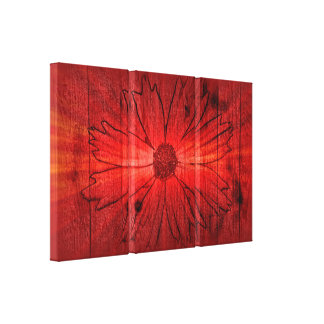 Red Flower Fantasy Art Design Abstract Stretched Canvas Print