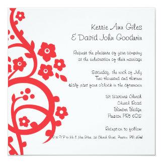 Red Flower Flourish Wedding Invitation