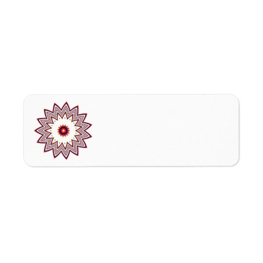 Red flower fractal return address label