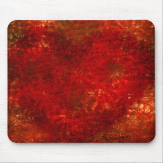 Red Flower  Heart Mousepad