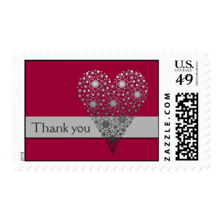 Red Flower Heart Thank you postage stamps