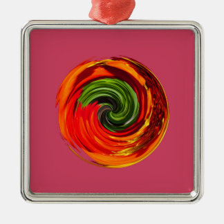 Red flower in a twirl Silver-Colored square decoration
