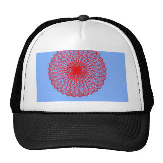 red flower in blue abstract art trucker hat