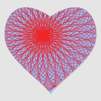 red flower in blue abstract art heart sticker