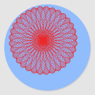 red flower in blue abstract art round stickers
