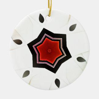 Red flower - Japan style Round Ceramic Decoration