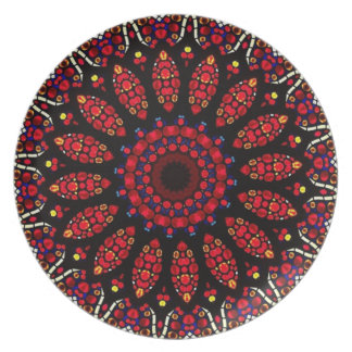 Red Flower Kaleidoscope Pattern Plate