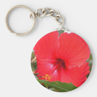 Red Flower Basic Round Button Key Ring