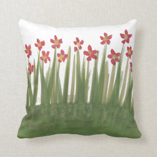 Red flower Meadow throw cushion Pillow