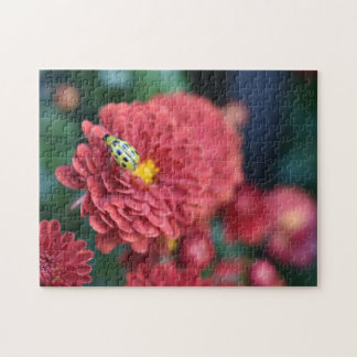 Red Flower Nature Photography Beetle Insect Bug Jigsaw Puzzle