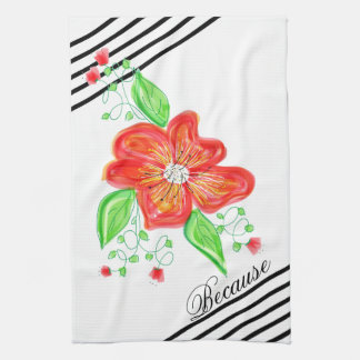 Red Flower On Black And White Stripe Towel