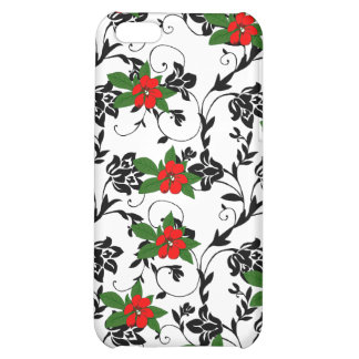 Red Flower on Black Scroll Art Case For iPhone 5C