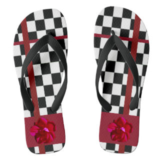 Red Flower on Black White Checker Flip Flops