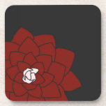 Red Flower on Dark Charcoal Coaster Set