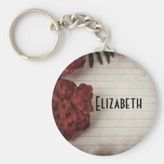 Red Flower on Lined Paper Personalized Basic Round Button Key Ring