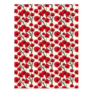 Red Flower Pattern Design Postcard