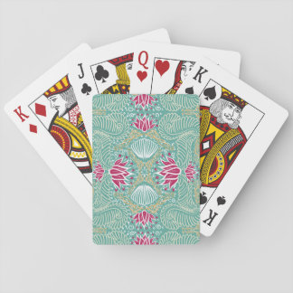 Red Flower Pattern Playing Cards