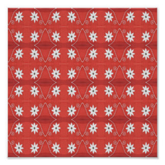 Red flower pattern poster