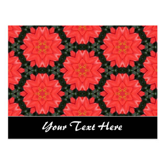 Red Flower Pattern Template Postcard