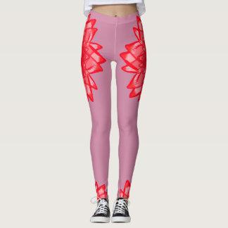 Red flower pattern your colour customisable leggings