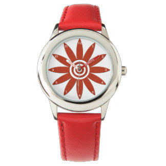 Red Flower Petals Fresh Floral Blossom Wrist Watch