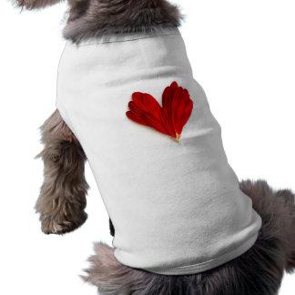 Red Flower Petals Heart Sleeveless Dog Shirt