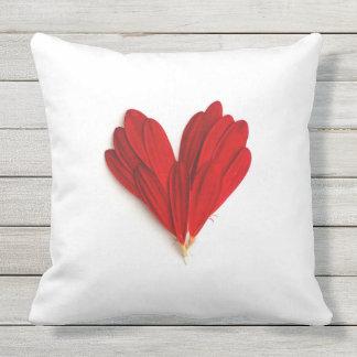 Red Flower Petals Heart Throw Pillow Cushions