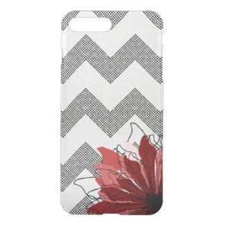 Red flower petals on chevron pattern iPhone 7 plus case