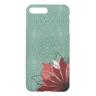 Red flower petals on tribal pattern iPhone 7 plus case
