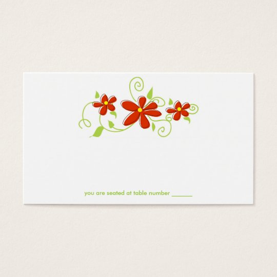 Red Flower Place Cards