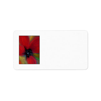 Red Flower, Poppy. Label