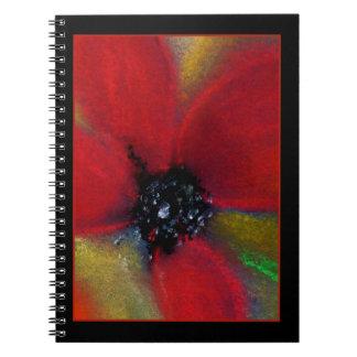 Red Flower, Poppy. Spiral Notebook