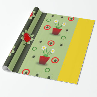 red flower pot green yellow wrapping paper