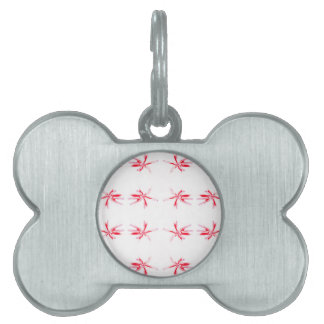 Red Flower Power Pattern. Pet Tag
