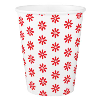 RED FLOWER PRINT. CUSTOMIZABLE BACKGROUND PAPER CUP
