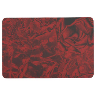 Red Flower Print Floor Mat