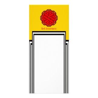 Red Flower Ribbon Personalised Rack Card