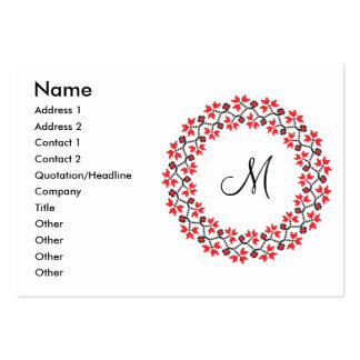 Red flower ring Personalized Monogram Initial Pack Of Chubby Business Cards