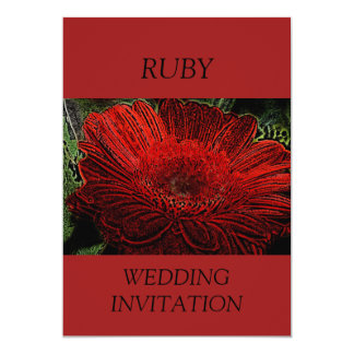 Red Flower Ruby Wedding Invitation