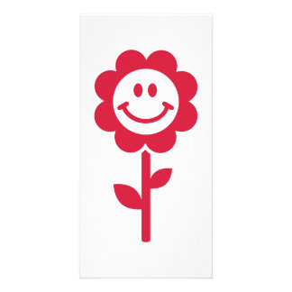 Red flower smiley personalised photo card
