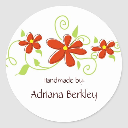 Red Flower Sticker Labels for Handmade Items
