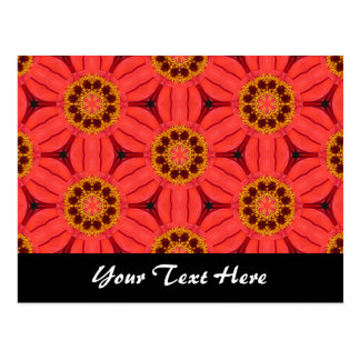 Red Flower Weave Template Postcard