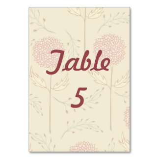 Red Flower Wedding Blossoms Table Cards