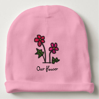Red Flower with Custom Text Baby Beanie