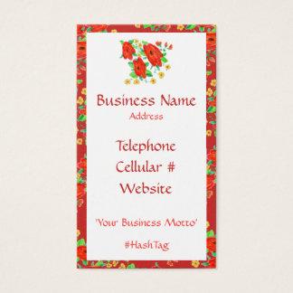 Red Flowered Feminine Business Card