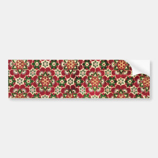 Red Flowered Medici Fabric Bumper Sticker