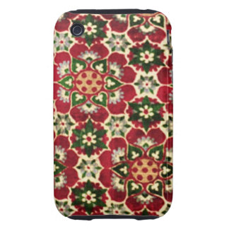 Red Flowered Medici Fabric Tough iPhone 3 Cases