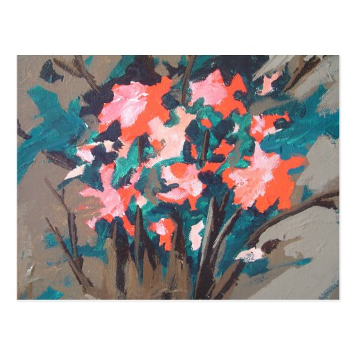 Red-flowered Shrub Post Cards