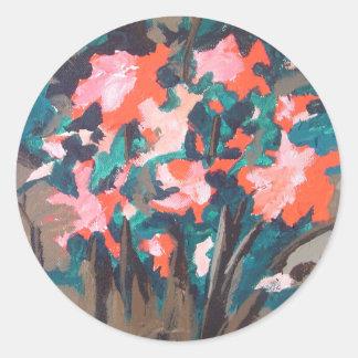 Red-flowered Shrub Round Sticker